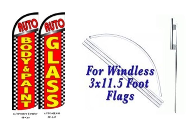 Auto Body & paint, Auto Glass Windless  Swooper Flag With Complete Kit