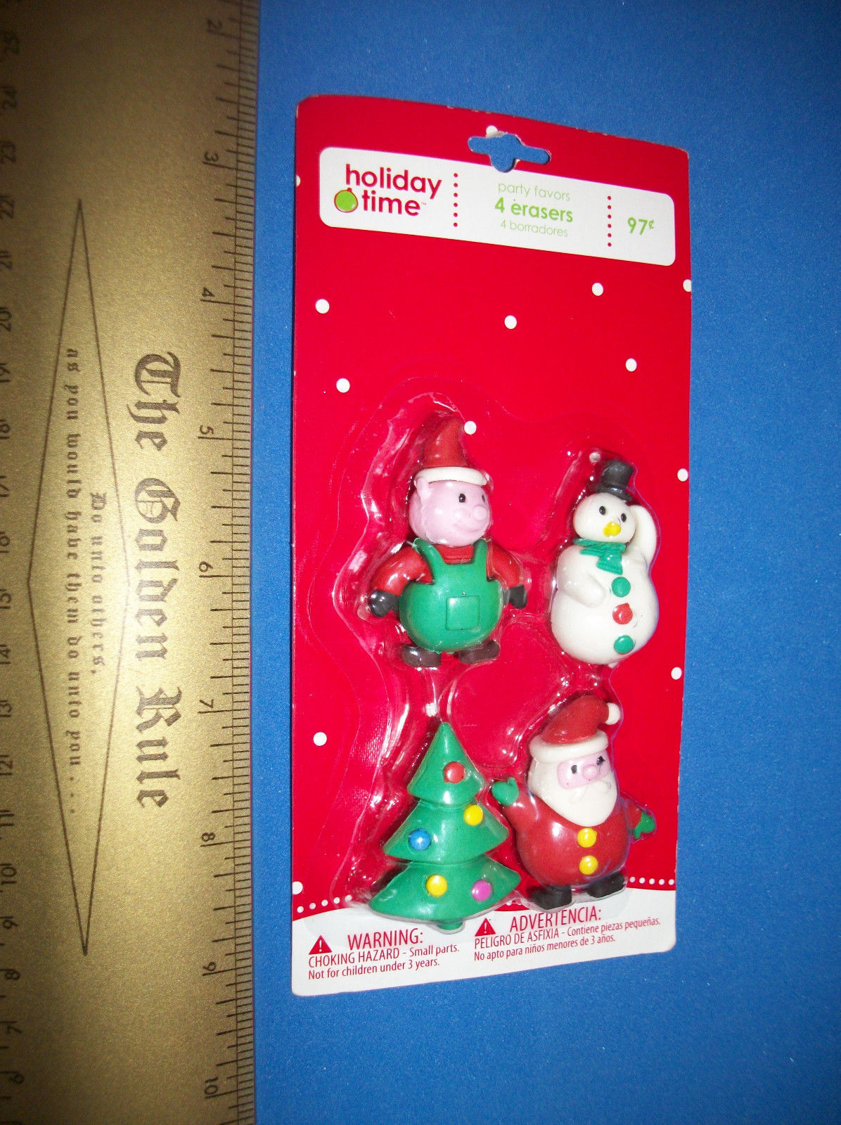 Education Holiday Party Supplies Set Christmas Time 4 Eraser Favor Pack Santa