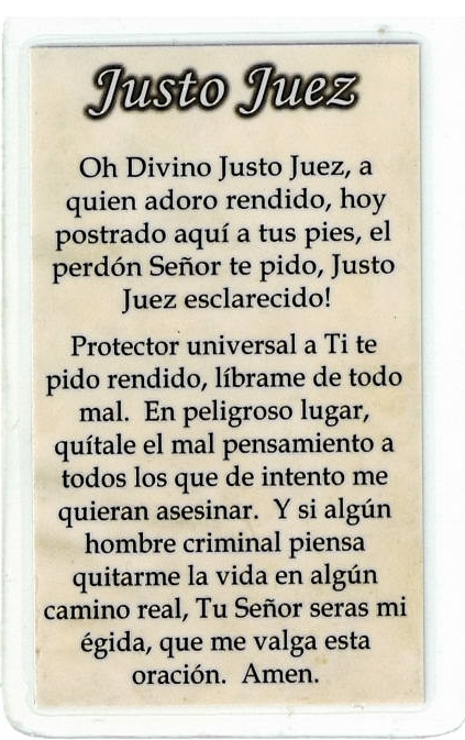 Laminated Prayer Card - Justo Juez - L300.0029