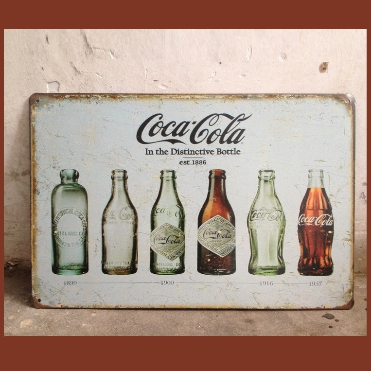 Retro Imitation Vintage Metal Antique Heritage Coca-Cola Bottle Evolution Sign