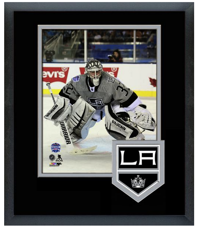 Jonathan Quick 2015 NHL Stadium Series  - 11 x 14 Team Logo Matted/Framed Photo