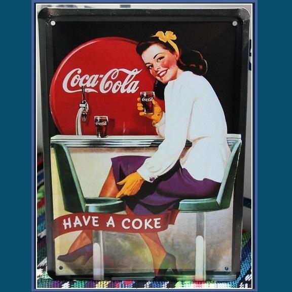 retro imitation vintage metal antique sign girl drinking coca cola soda fountain bottles. Black Bedroom Furniture Sets. Home Design Ideas
