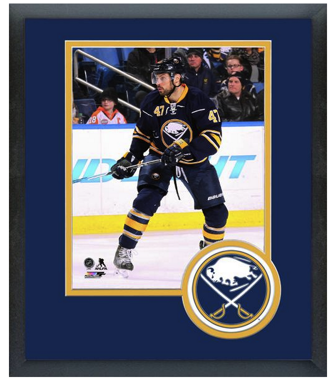 Zach Bogosian 2014-15 Buffalo Sabres-11x14 Team Logo Matted/Framed Photo