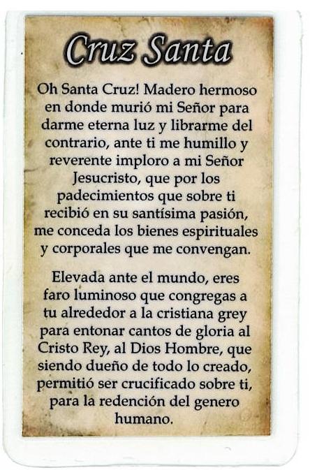 Laminated Prayer Card - Cruz Santa - L300.0030