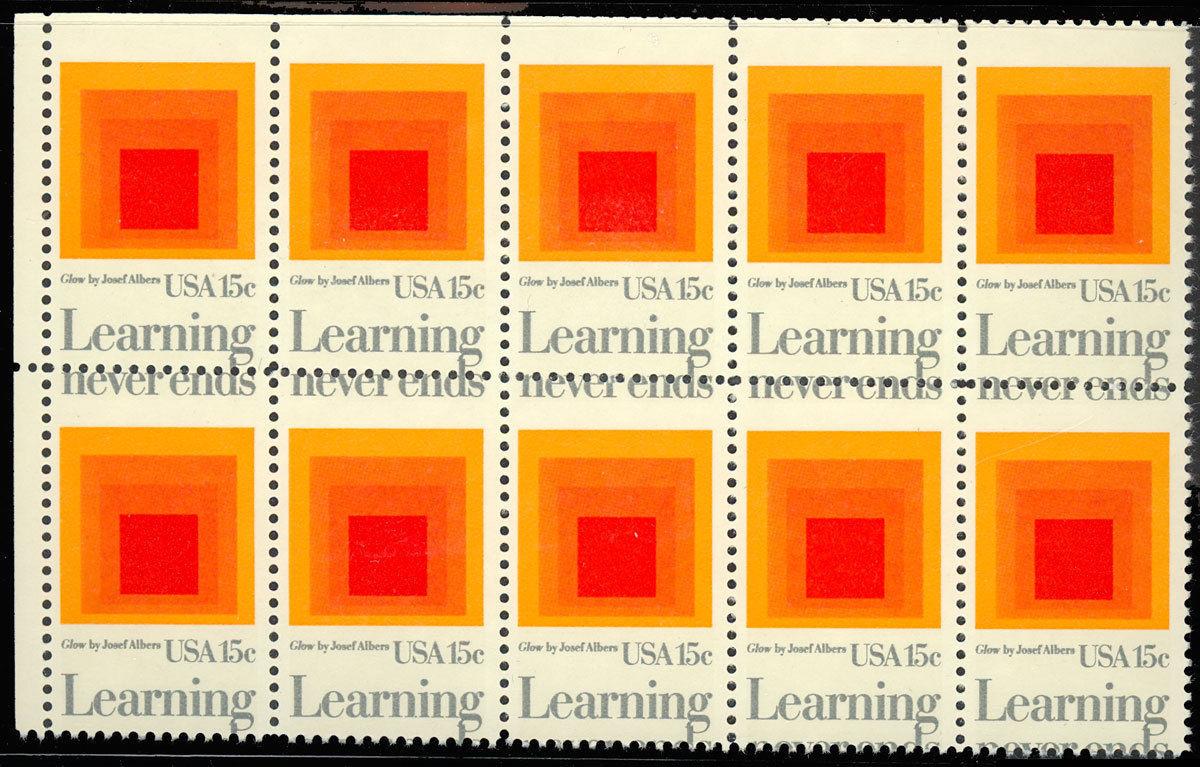 1833 Misperforated ERROR Block of Ten Stamps - 15¢ Learning - MNH - Stuart Katz