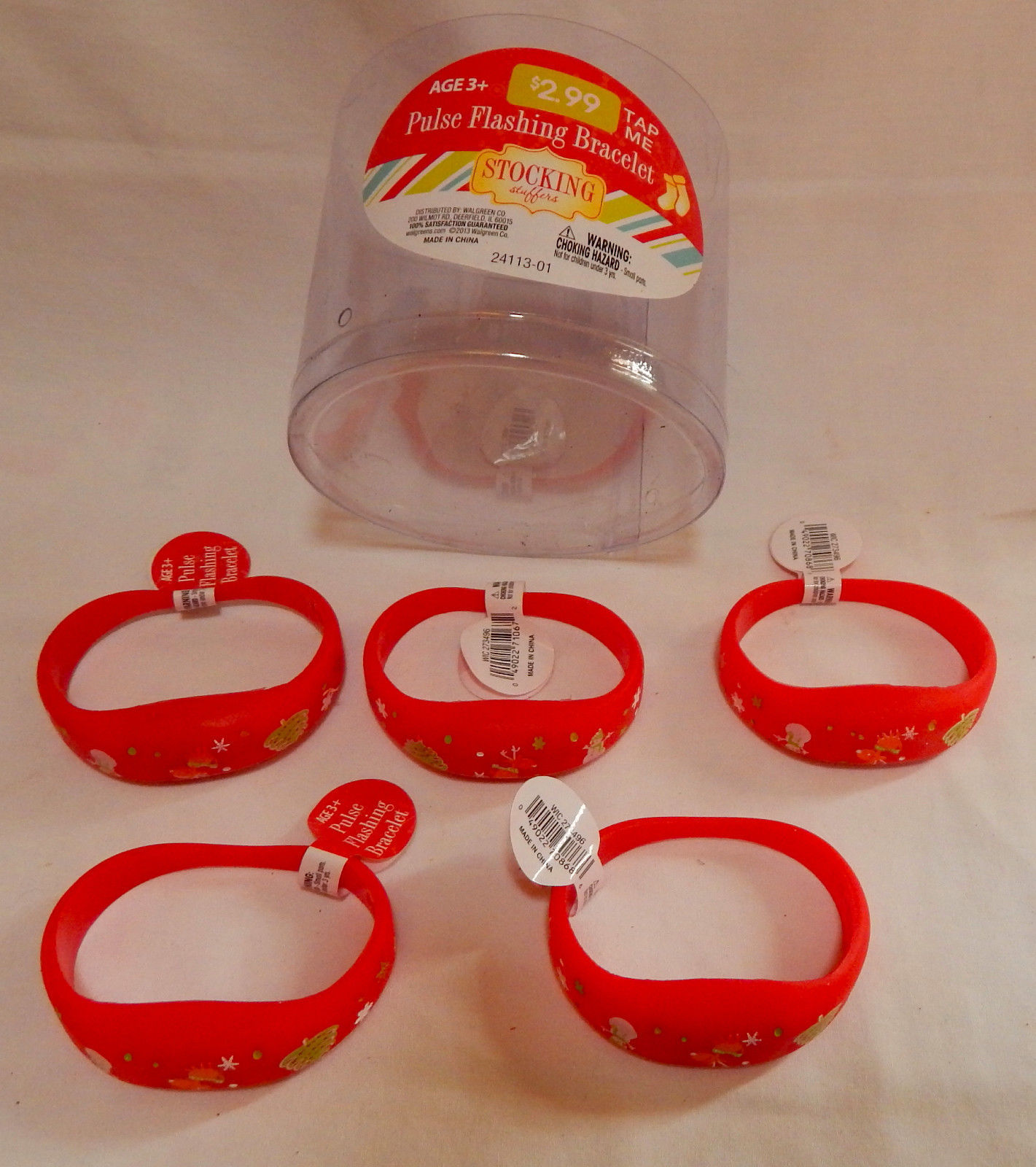 Christmas LED Pulse Flashing Bracelets 5ea Red 3+ By Walgreens Tap to Light 10Y