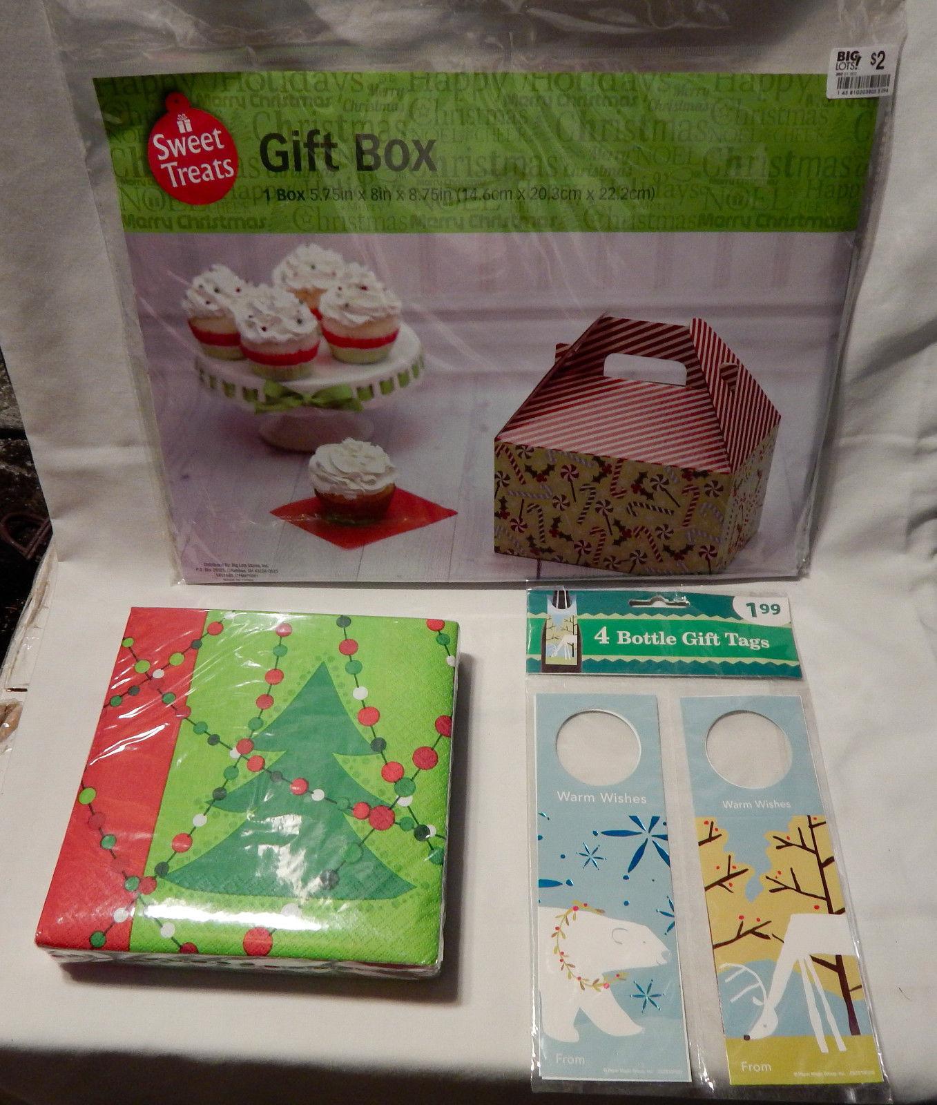 """Christmas Mix Lot Napkins 40ea Gift Box 5.75""""x 8""""x8.75"""" 4ea Bottle Gift Tags 29G"""