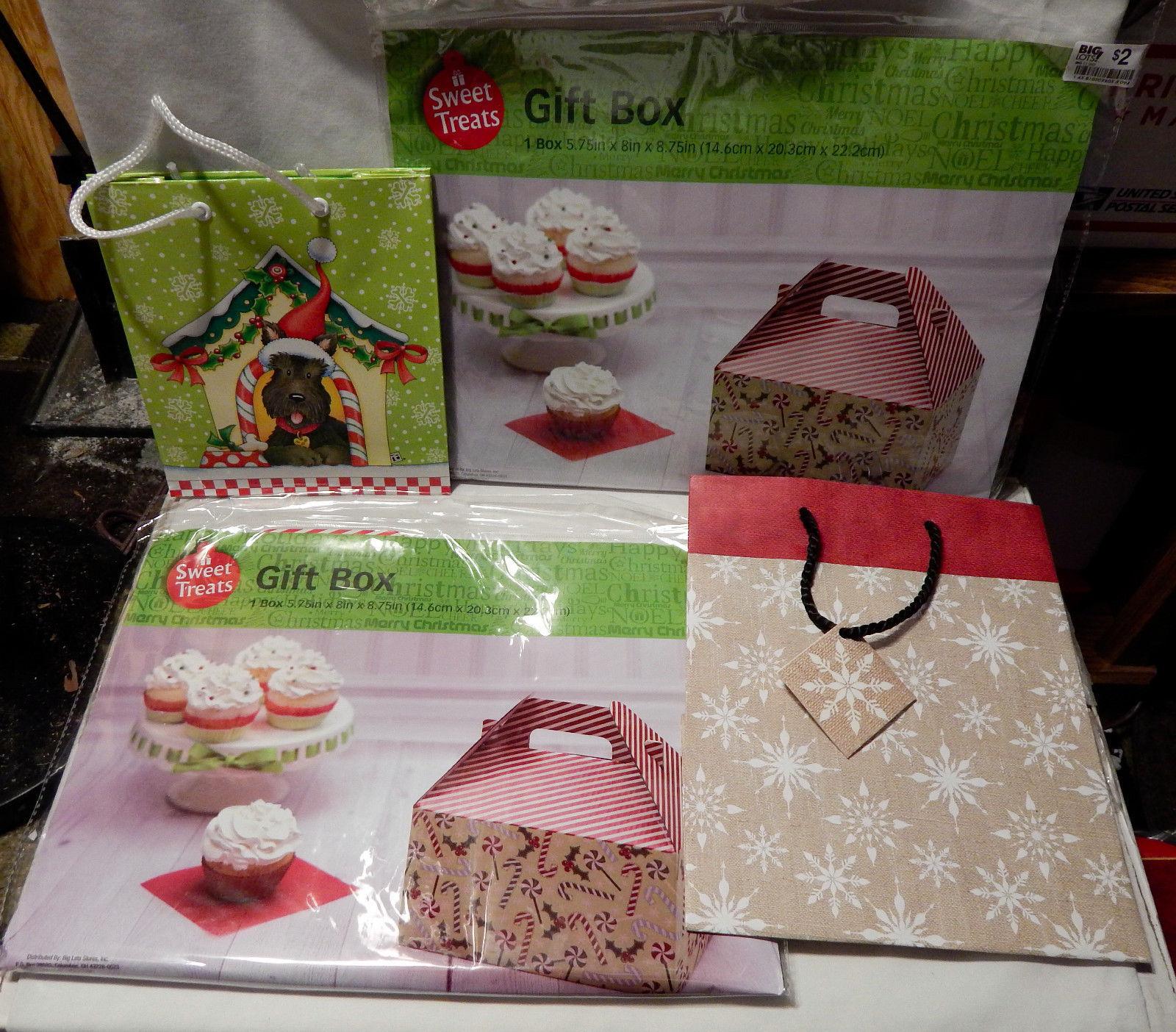 """Christmas Mix Lot 2ea Gift Boxes 5.75""""x8""""x8.75"""" 2ea Gift Bags Dog Snowflakes 29A"""