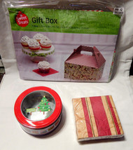 "Christmas Mix Lot Gift Box 5.75""x 8""x 8.75"" Napkins 40ea Metal Tin Container 29D - $7.90"