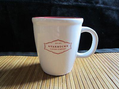 2006 Starbucks White Red Abbey Style Logo Red Interior Mug Coffee Tea Cup 13 oz