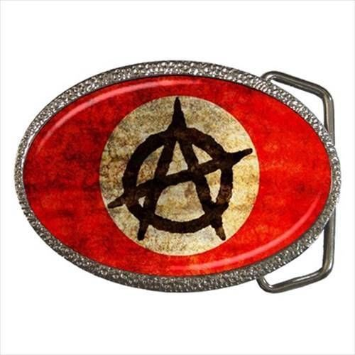 Anarchist Chrome Finished Belt Buckle - Anarchy Society Freedom