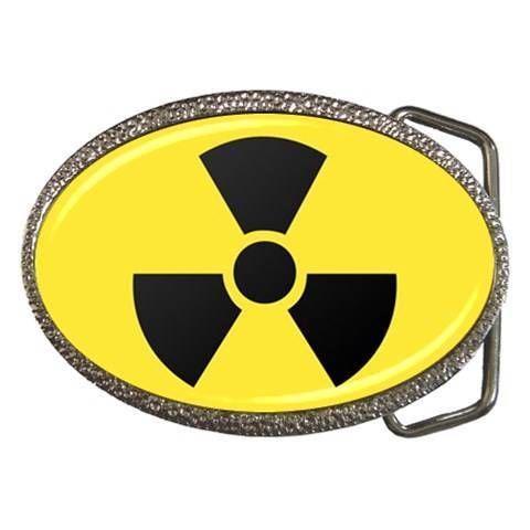 Atomic Radiation Chrome Finished Belt Buckle - Radiation Warning Symbol