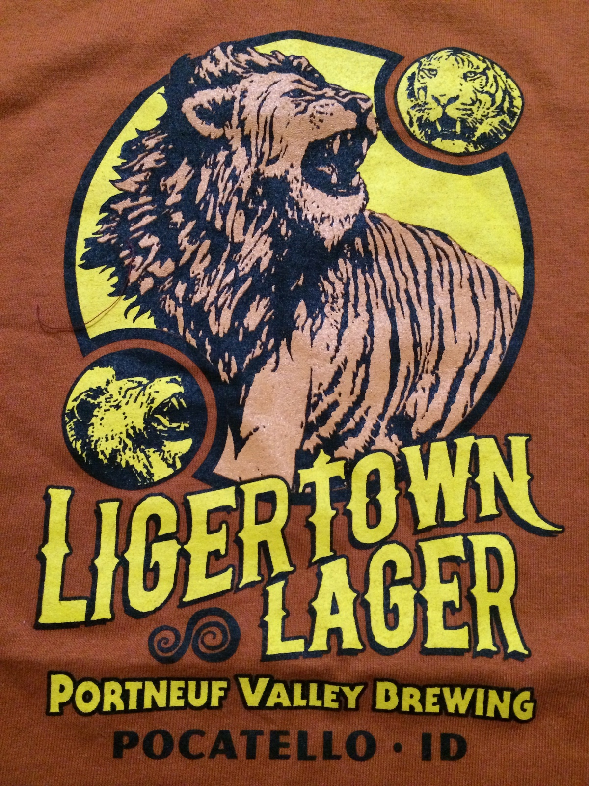 Ligertown Lager Cool Portneuf Valley Brewing Pocatello, Idaho T-Shirt Sz Medium