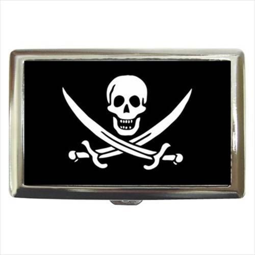 Pirate Flag Cigarette, Money, Card Holder Case - Gold and Treasures Yarr Yarr