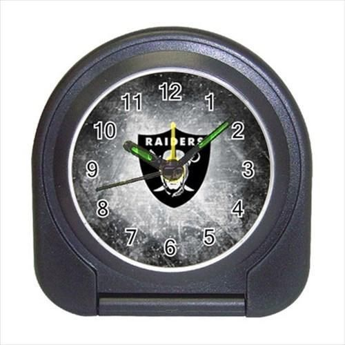 Oakland Raiders Compact Travel Alarm Clock - NFL Football (Battery Included)