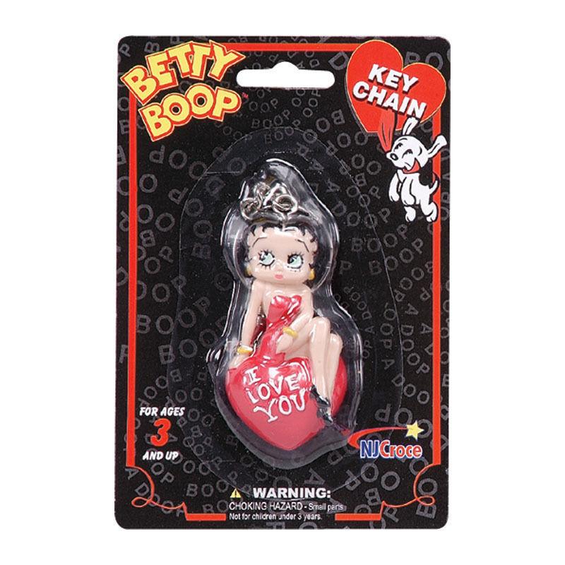 Betty Boop Bendable Figure, 3D Keychain Motorcycle Biker I love you Hands Wink