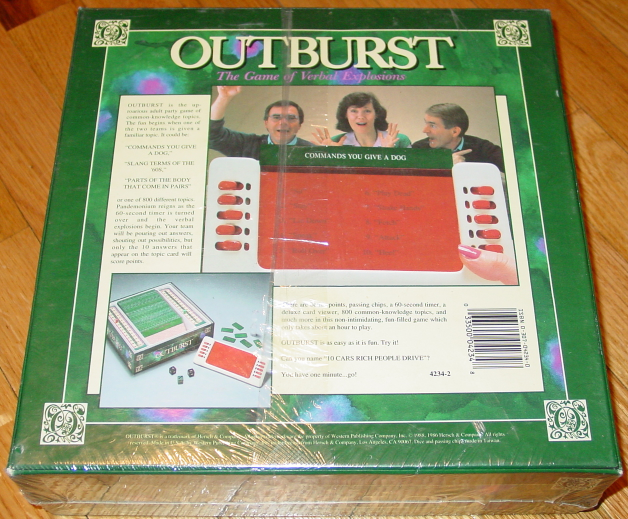OUTBURST GAME OF VERBAL EXPRESSIONS 1988 HERSCH GOLDEN COMPLETE new factory seal