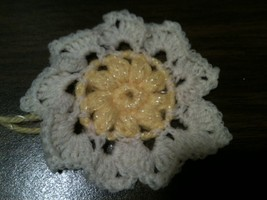 "HAND CROCHETED FLOWER- 3"" BABY YARN single layer 9 pedals - $1.00"