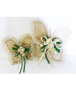 Lace butterfly ribbon with paper flower center set of two vintage - $19.99