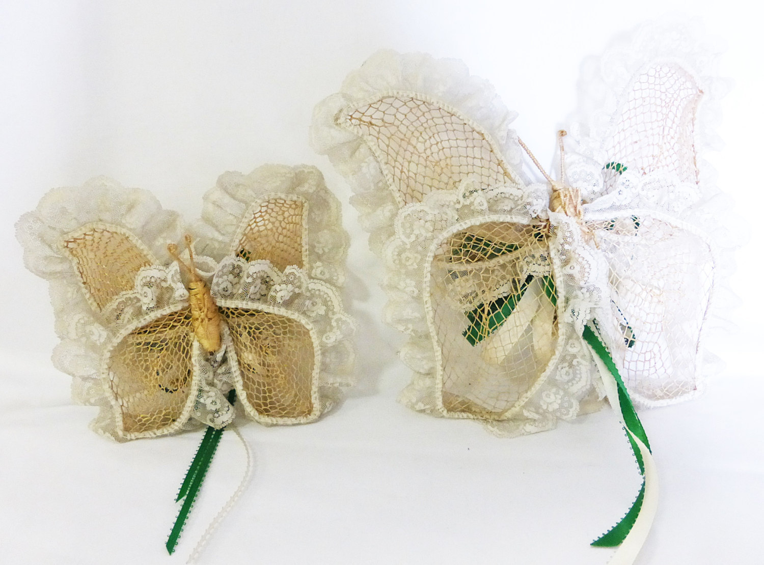 Lace butterfly ribbon with paper flower center set of two vintage