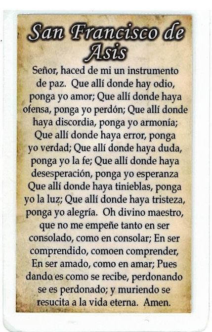 Laminated Prayer Card - San Francisco de Asis - L300.0036