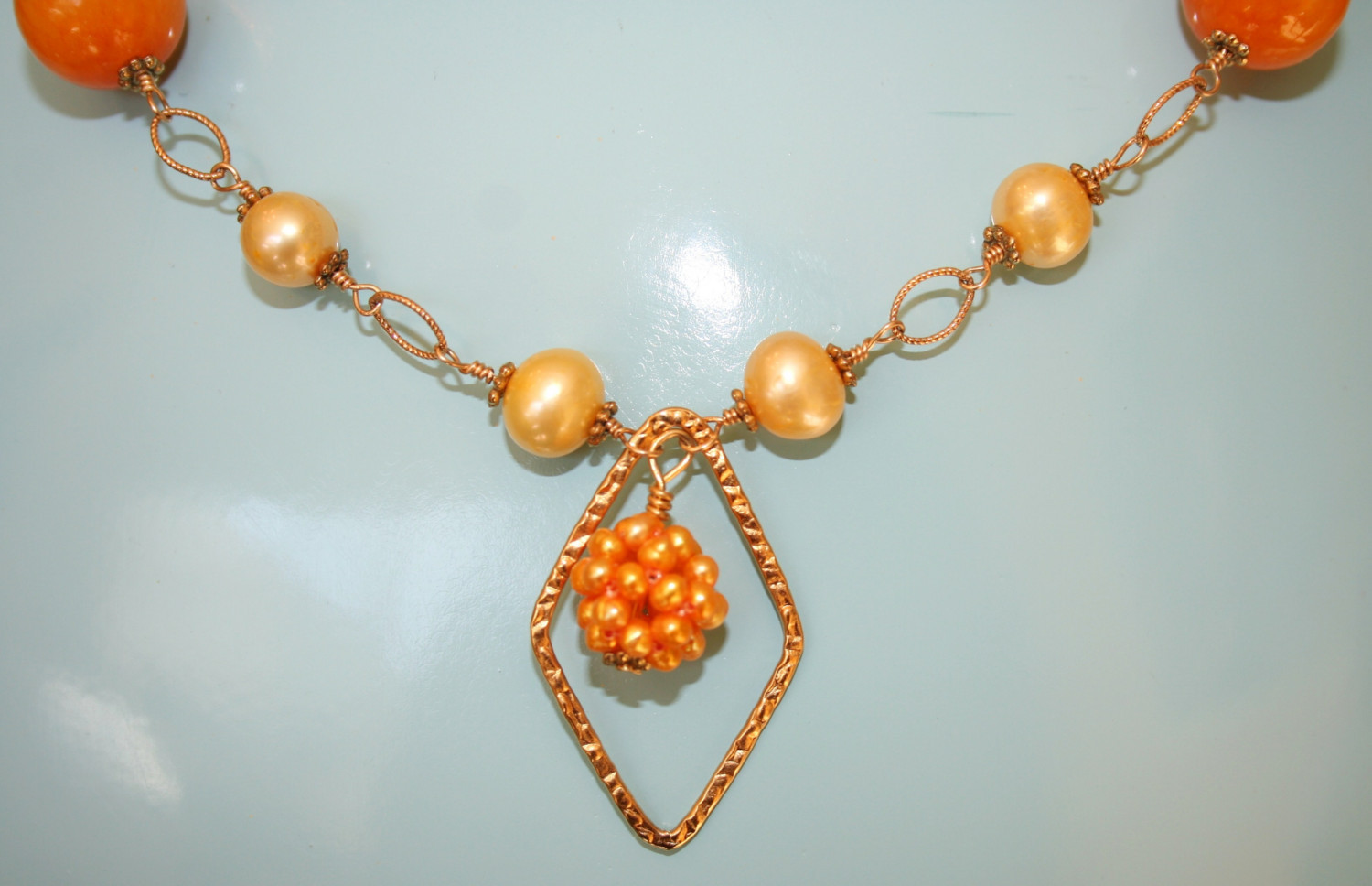 Hand made gold necklace with Aragonite and water pearls