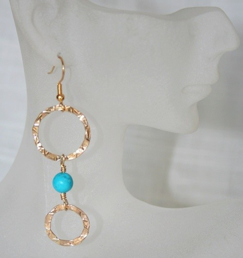 Hand made 14K Gold earrings and Chalk Turquoiseb