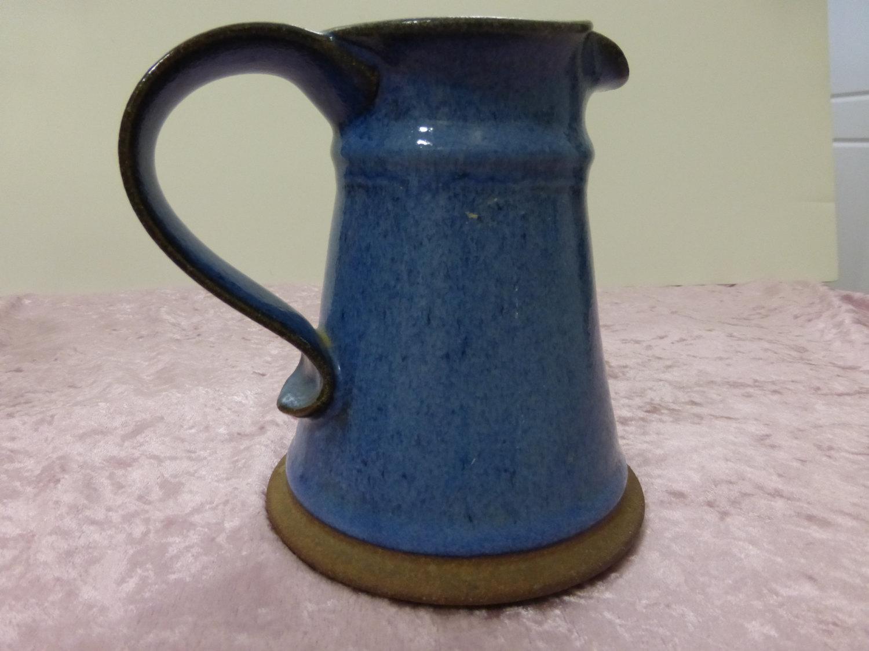 Vintage Mark Blumenfeld blue pitcher Milk Jug pottery signed