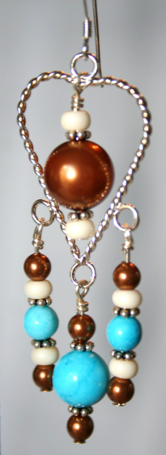 Hand made Swarovski pearls earrings, blue chalk Turquoise and silver plated elem