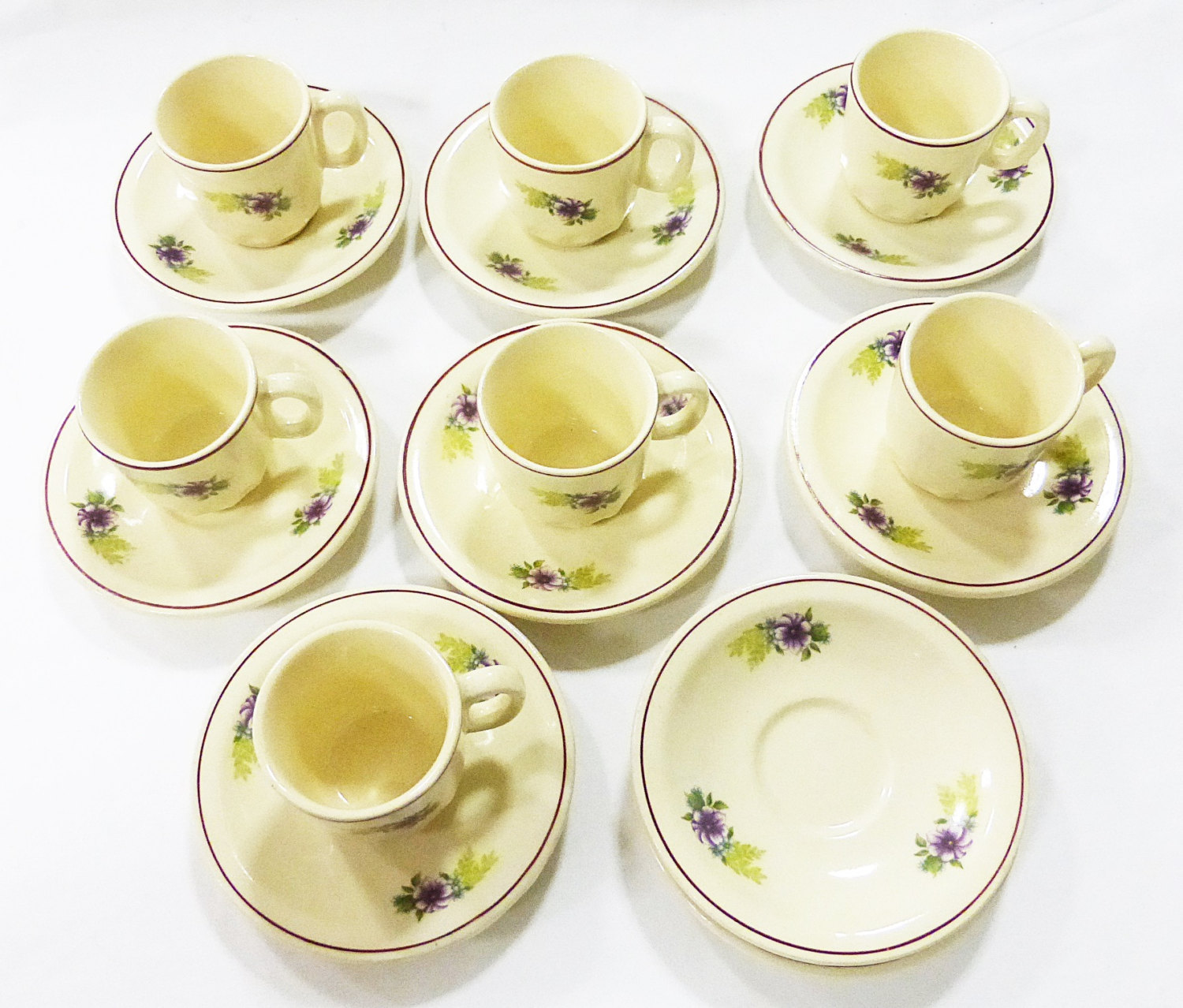 espresso cup made in romania sign fs set of 7 cup and 9 saucers vintage