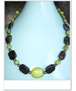 Semi-precious stones Lime green Chalk Turquoise and blue Labradorite han... - $45.00