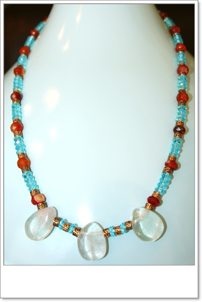 Hand made Blue crystal and carnelian necklace with pewter spacers