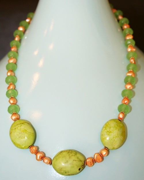 Hand made semi-precious stones Chalk Turquoise and fresh water pearls necklace