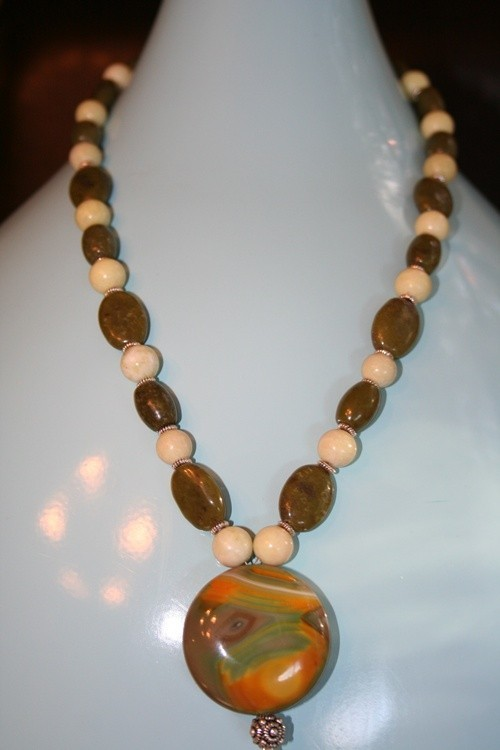 Handmade semi-precious stone necklace with new jade and jasper