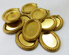 Pendant trays brass oval cup cabochon mountings w/loop set of 12 - $5.99