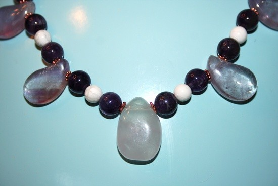 Handmade Amethyst necklace with white Howlite