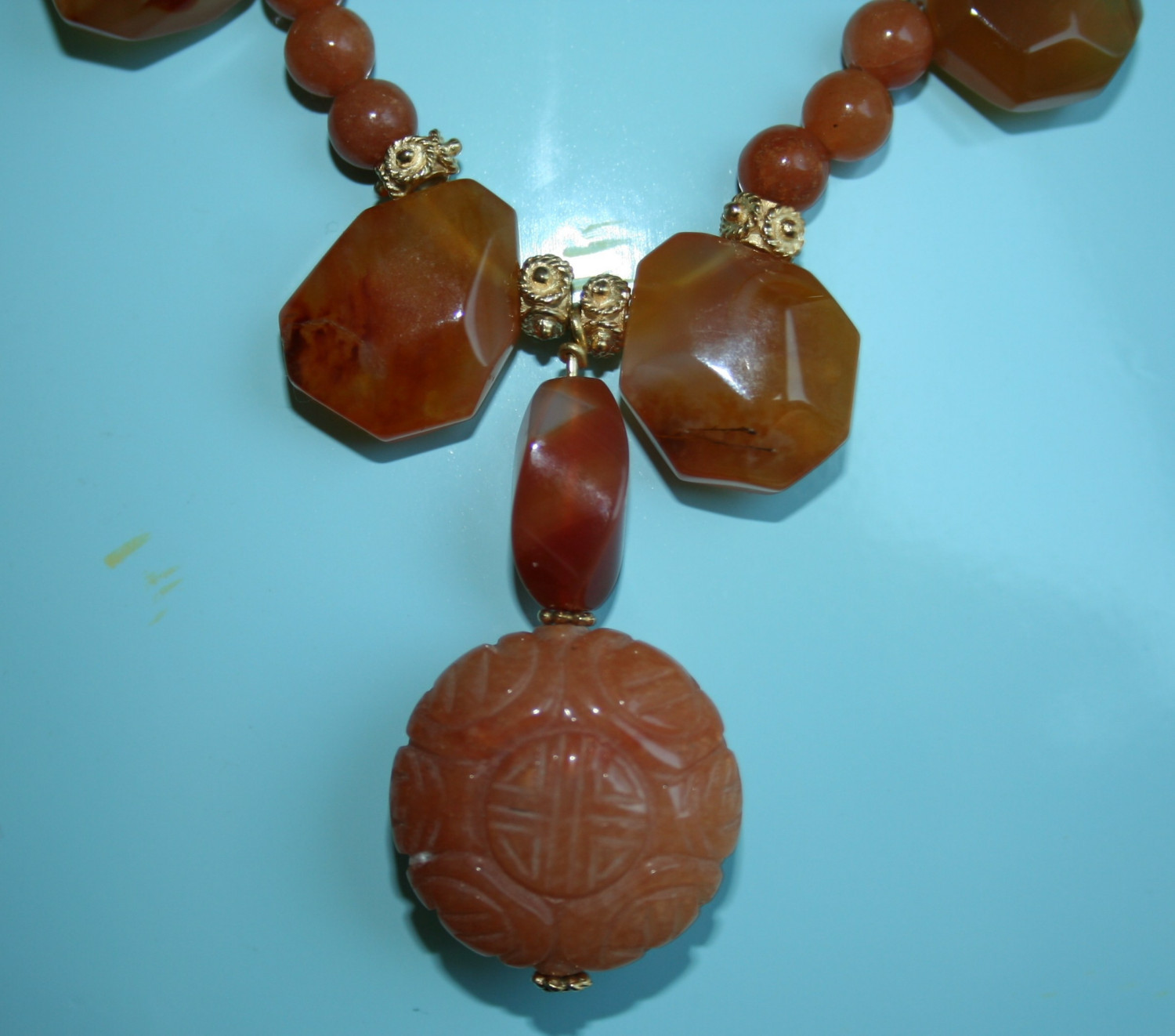 Hand carved red Aventurine in this beautiful necklace