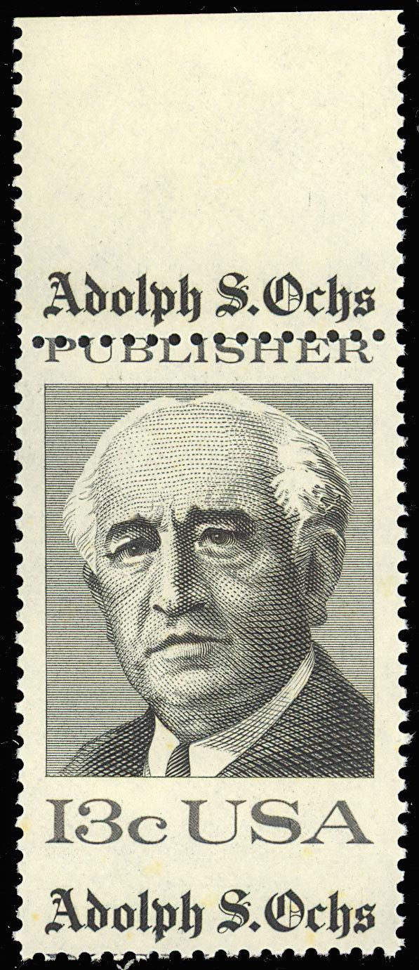 1700 Misperforated ERROR Margin Copy - 13¢ Adolph S. Ochs - Stuart Katz