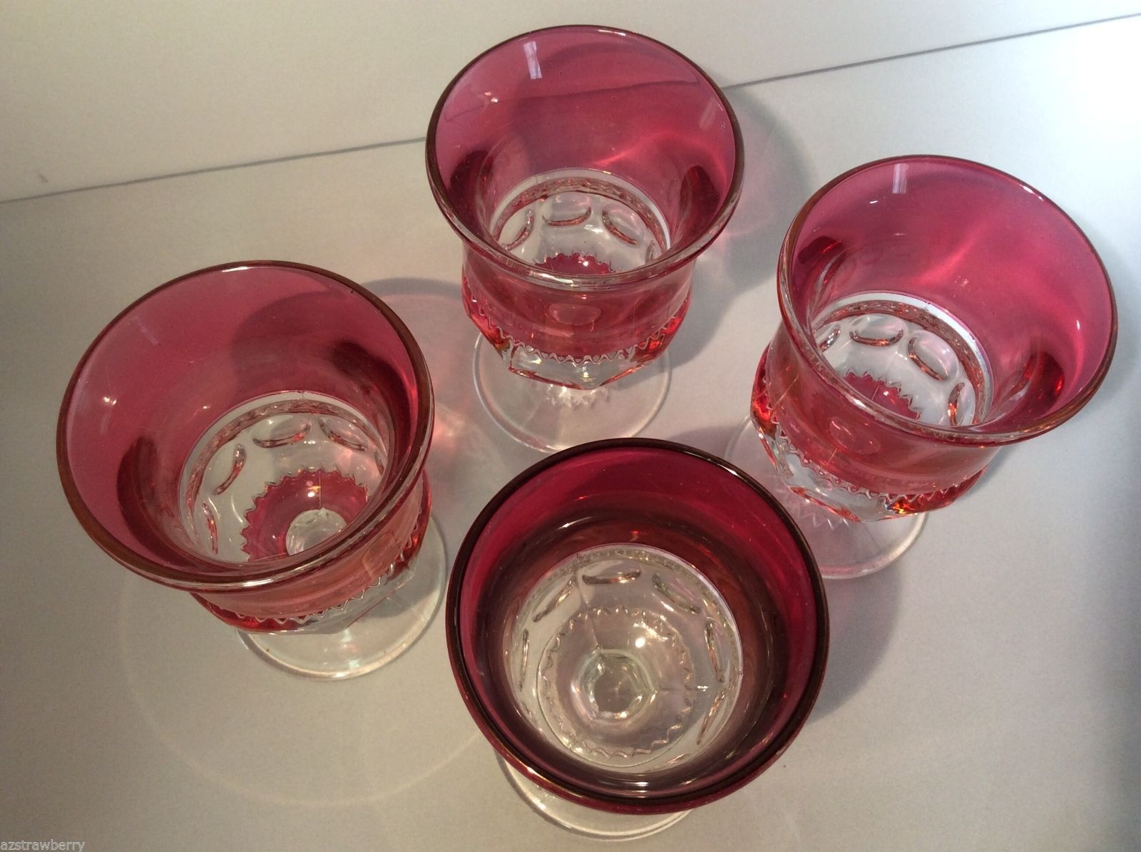 Tiffin Kings Crown Thumbprint Ruby Red Flashed Glass set of 4 Footed glasses