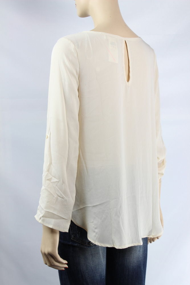 Chiffon,Lace Layered Scoop Neck Long Sleeve BLOUSE Key-Hole,Hi-Low Cute TOP S,M