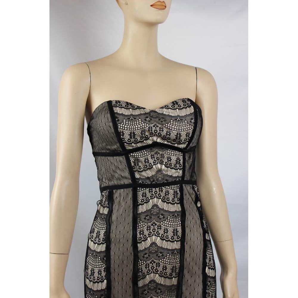 Sexy Black Lace& Mesh Tube DRESS w/ Pad Bra Nice Body,Lining Cocktail Wear S,M
