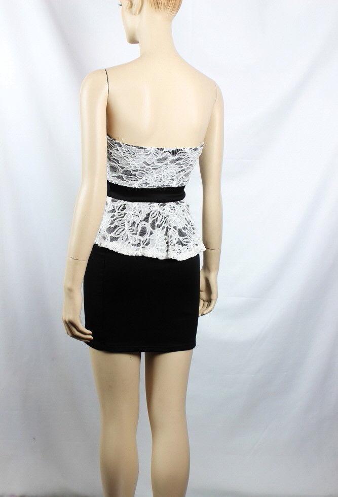 Floral Lace,Cut Body Line PEPRUM DRESS w/ Pad Bra,Gold Chain Pleated Waist S