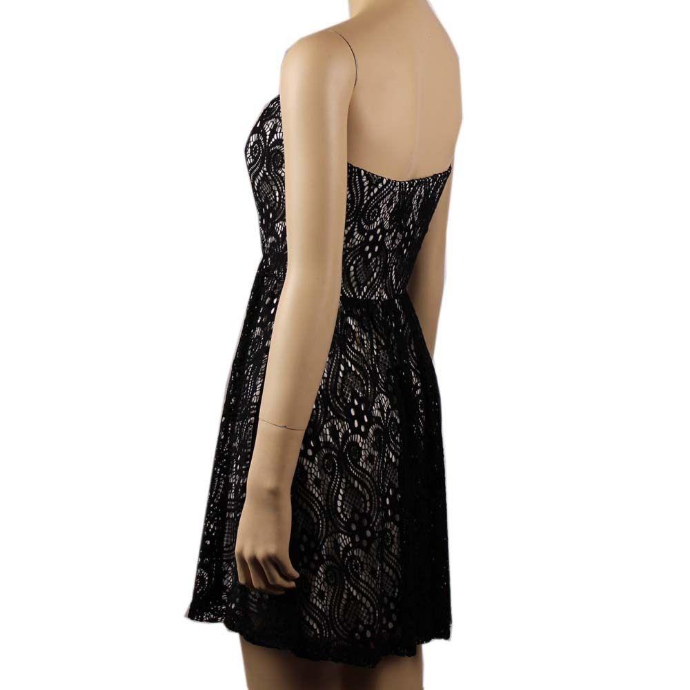 Sexy Black Floral Lace Tube DRESS w/ Pad Bra Pleated Waist, Lining Club Wear SM