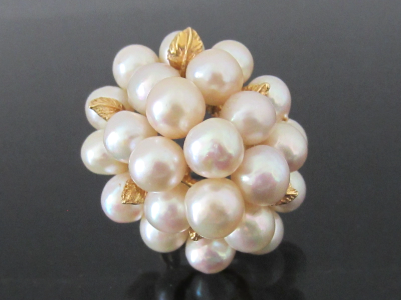 Estate Vintage 25 Natural Pearl 14K Yellow Gold Cluster Ring Size 6.25