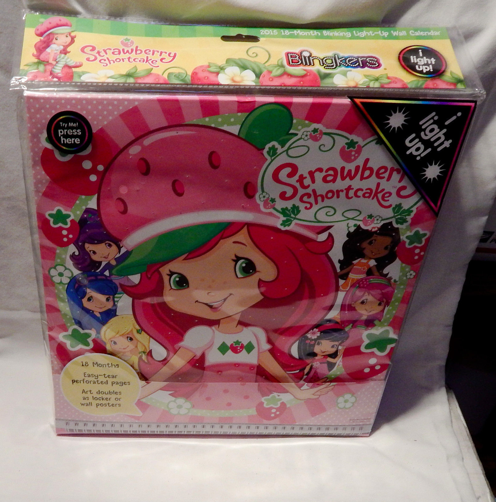 "LED Light Up Wall Calendar 2015 18 month 12""X12"" Blingkers Strawberry Short 10W"