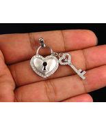 14K White Gold Finish Heart Shaped Lock and Key Beautiful Pendant Sim Di... - $110.00