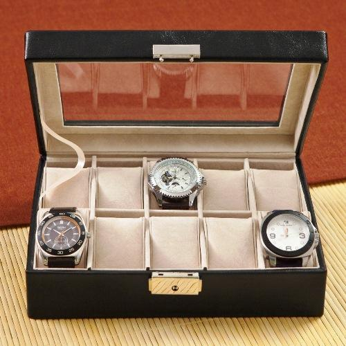 Black Leather Watch Display Case - Personalized Monogram - Great Personal Gifts