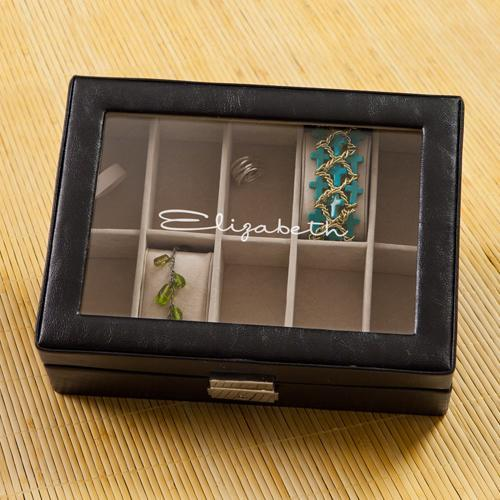 Personalized Black Leather Jewellery Display Case - Free Name Customization