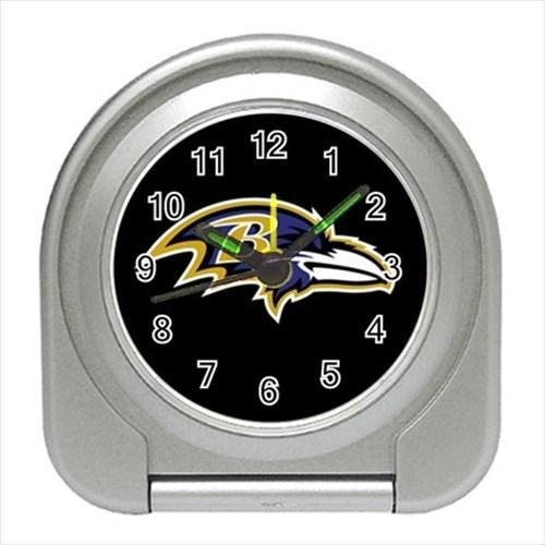 Baltimore Ravens Compact Travel Alarm Clock - NFL Football (Battery Included)