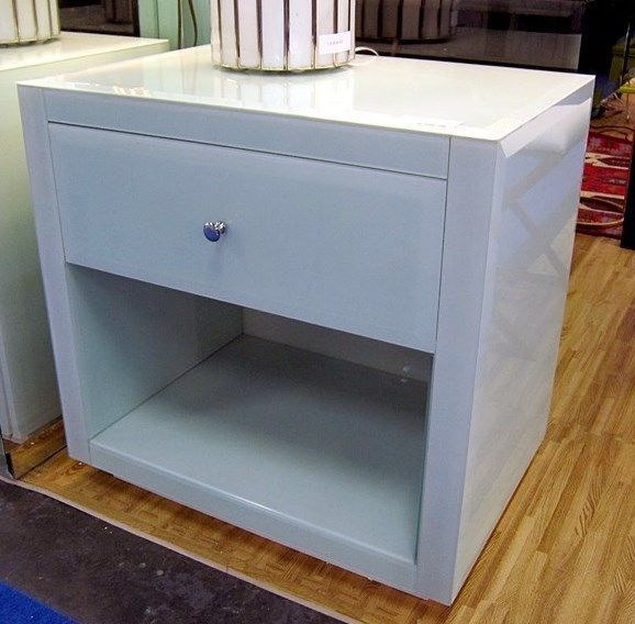 Neiman Marcus Horchow Ice Blue Glass Mirrored Hannah Farrah Nightstand Chest